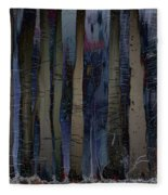 Snowing In The Ice Forest At Night Fleece Blanket