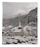 Snowing In The Valley Fleece Blanket
