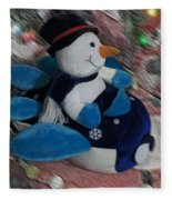 Snowman And His Speeding Plane Fleece Blanket