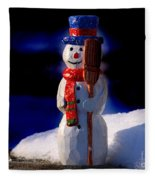 Snowman By George Wood Fleece Blanket