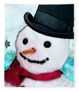 Snowman Christmas Art - Frosty Fleece Blanket