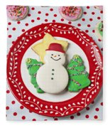 Snowman Cookie Plate Fleece Blanket