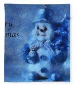 Snowman Merry Christmas Photo Art 01 Fleece Blanket