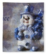 Snowman Peace Photo Art 01 Fleece Blanket