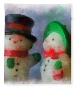 Snowman Photo Art 09 Fleece Blanket