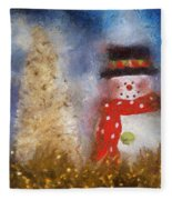 Snowman Photo Art 14 Fleece Blanket