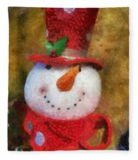 Snowman Photo Art 19 Fleece Blanket