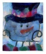 Snowman Photo Art 34 Fleece Blanket