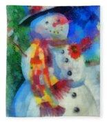 Snowman Photo Art 53 Fleece Blanket