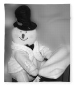 Snowman Playing The Piano In Bw Fleece Blanket