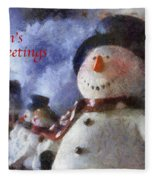Snowman Season Greetings Photo Art 01 Fleece Blanket