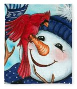 Snowman W/ Cardinal Visitor Fleece Blanket
