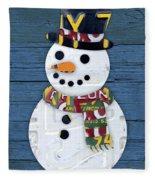 Snowman Winter Fun License Plate Art Fleece Blanket