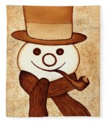 Snowman With Pipe And Topper Original Coffee Painting Fleece Blanket