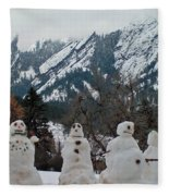 Flatiron Snowmen. Fleece Blanket