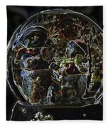Snowmen Neon Water Globe Fleece Blanket