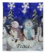 Snowmen Peace Photo Art Fleece Blanket