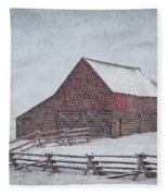 Snowstorm At The Ranch 2 Fleece Blanket