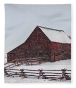 Snowstorm At The Ranch Fleece Blanket
