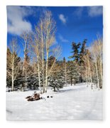 Snowy Aspen Grove Fleece Blanket