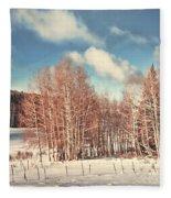 Snowy Aspens  Fleece Blanket
