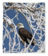 Snowy Bald Eagle Fleece Blanket