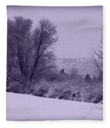 Snowy Bench In Purple Fleece Blanket