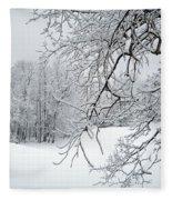Snowy Branches Fleece Blanket