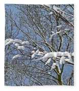 Snowy Branches With Blue Sky Fleece Blanket