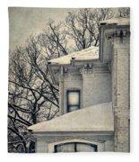 Snowy Brick House Fleece Blanket