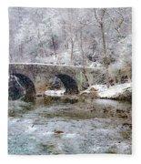 Snowy Bridge Along The Wissahickon Fleece Blanket