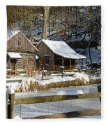 Snowy Cabins Fleece Blanket