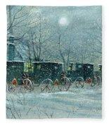 Snowy Carriages Fleece Blanket