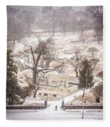 Snowy Cemetery Fleece Blanket