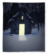 Snowy Chapel At Night Fleece Blanket