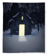 Snowy Chapel At Night Fleece Blanket