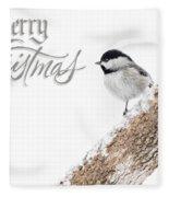 Snowy Chickadee Christmas Card Fleece Blanket