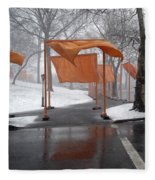 Snowy Day In Central Park Fleece Blanket
