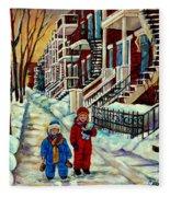 Snowy Day Rue Fabre Le Plateau Montreal Art Winter City Scenes Paintings Carole Spandau Fleece Blanket