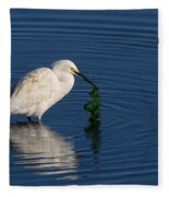 Snowy Egret Catches Sushi And Seaweed Fleece Blanket