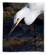 Snowy Egret Dribble Fleece Blanket