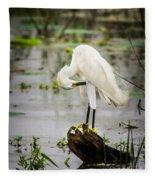 Snowy Egret In Swamp Fleece Blanket