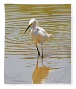 Snowy Egret Looking For Fish Fleece Blanket