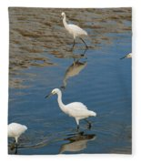 Snowy Egret Lunch Break Fleece Blanket