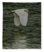 Snowy Egret On Estuary Fleece Blanket