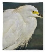 Snowy Egret Portrait Fleece Blanket