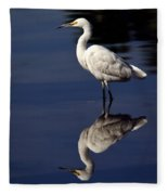 Snowy Egret Reflection  Fleece Blanket