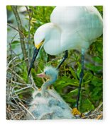 Snowy Egret Tending Young Fleece Blanket