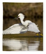 Snowy Egret With Lunch Fleece Blanket