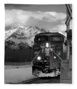 Snowy Engine Through The Rockies Fleece Blanket